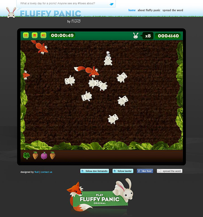 Fluffy Panic: Veg Patch game screen