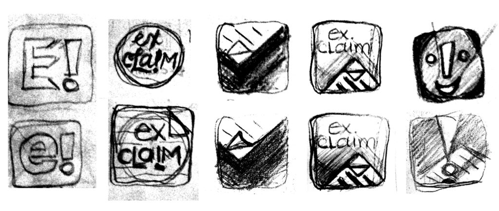Exclaim logo preliminary sketches