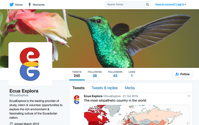 EcuaExplora logo applied to Twitter page