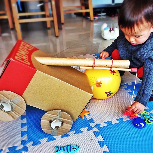 Cardboard crane truck
